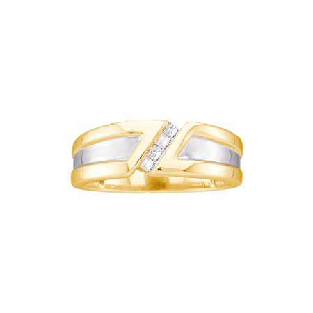 14kt Yellow Gold Mens Princess Diamond Single Row Two-tone Wedding Band Ring 1/6 Cttw
