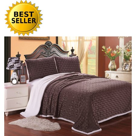 Elegant Comfort Luxury Sherpa Blanket On Amazon  Best Seller Micro Sherpa Ultra Plush Blanket   King  Chocolate Brown