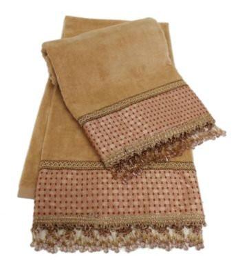 Sherry Kline Chenille Dots Gold Embellished Bath Towel (set of 2) by Sherry Kline
