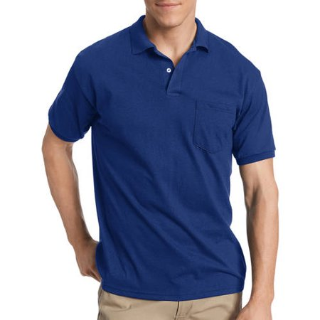 Hanes big tall mens ecosmart soft jersey fabric polo for Big and tall polo shirts with pockets