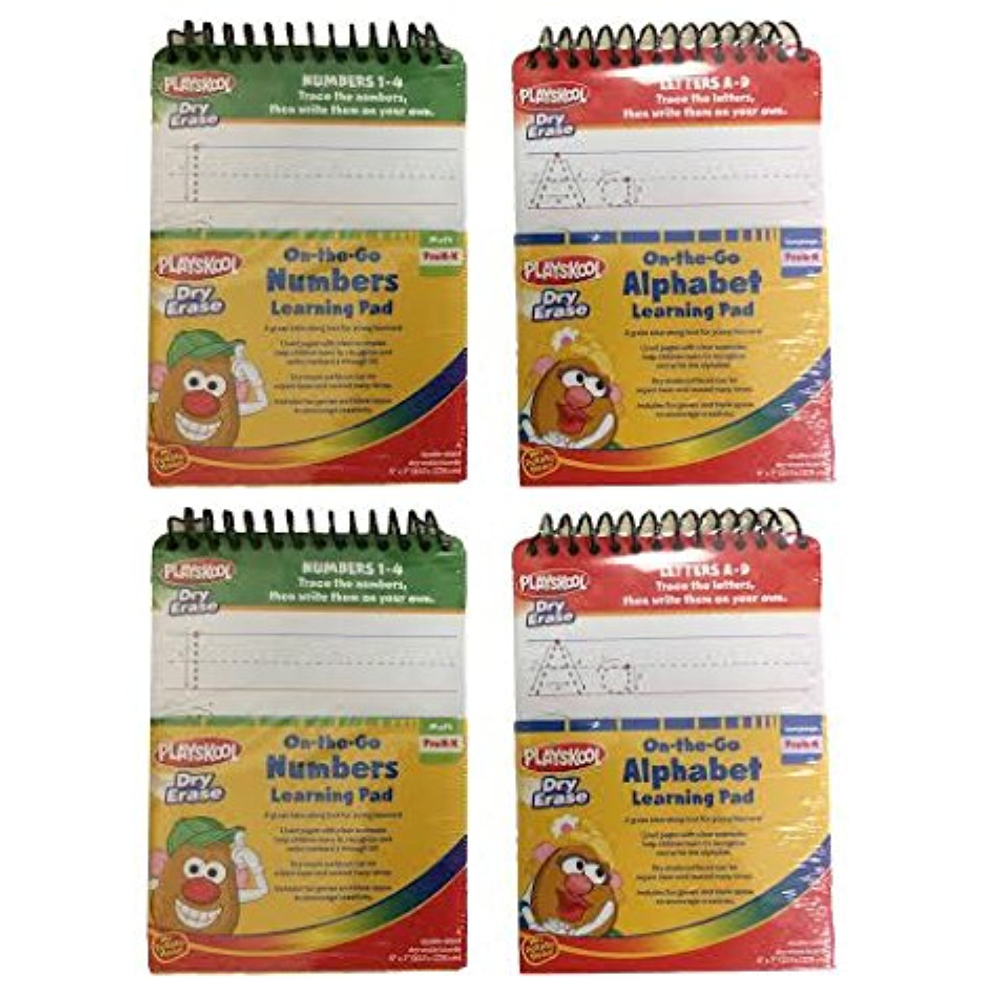 Set of 4 Playskool Dry Erase On-The-Go Alaphabet(A-Z) & Numbers(1-20) Learning Pad 2 of... by