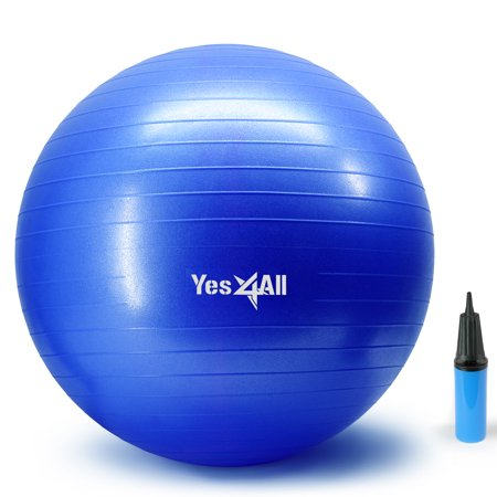 Yes4All Yoga Ball with Pump – Anti Burst & Extra Thick Stability Ball / Balance Ball / Fitness Ball – Small Yoga Ball (65 cm, (Best Anti Burst Stability Ball)