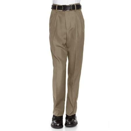 Brown Corduroy Boys Overalls - RGM 100% Dacron, Flat Front, Boys Slim Dress Slacks