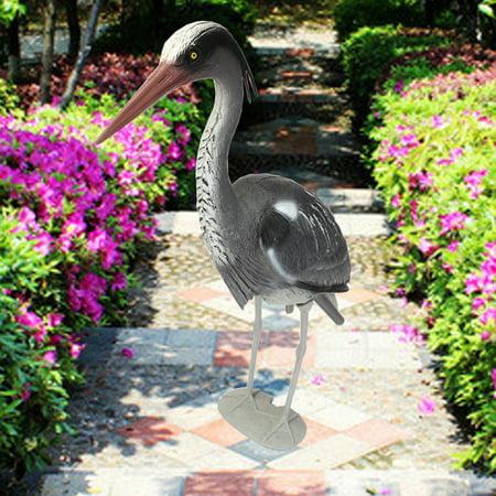 Resin Decoy Heron Bird Scarer Fish Pond Koi Carp Crafts Decorate Outdoor Garden Ornament 32x25x7