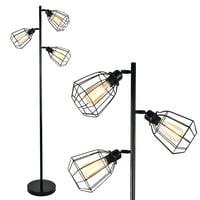 "LeonLite 65"" Track Tree Multi Head Floor Lamp with Cage Shades"
