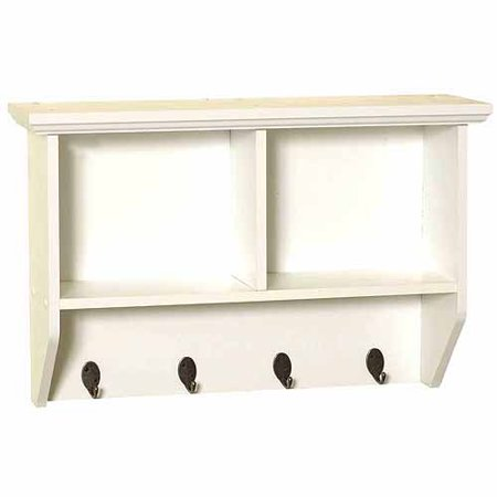 zenith products 9924wwa white wall shelf with hooks. Black Bedroom Furniture Sets. Home Design Ideas