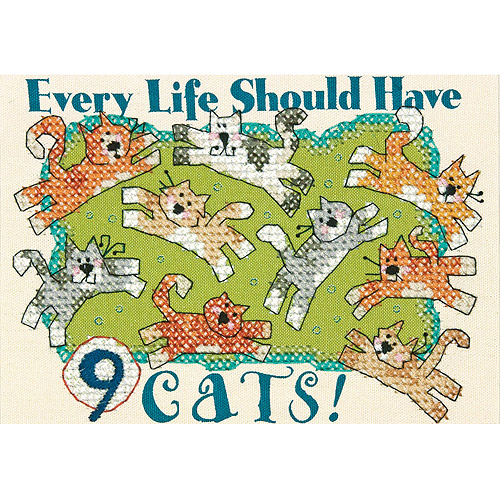 """Dimensions Nine Cats Mini Stamped Cross Stitch Kit, 7"""" x 5"""""""