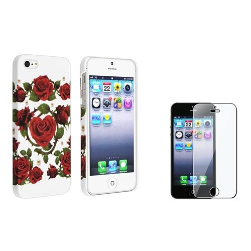 INSTEN White/Red Roses Rear Rubber Coated Case for Apple iPhone 5 5s + Screen Protector