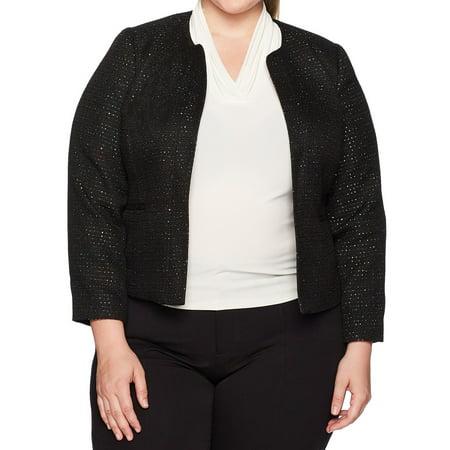 Nine West Womens Plus Tweed Sequin Open-Front Jacket