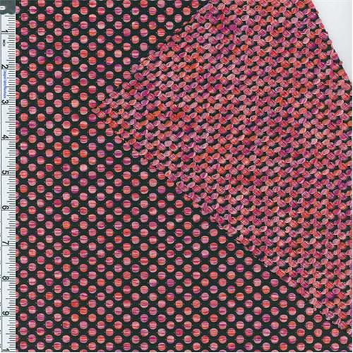 Black/Magenta/Orange Polka Dot Textured Novelty Knit, Fabric By the Yard