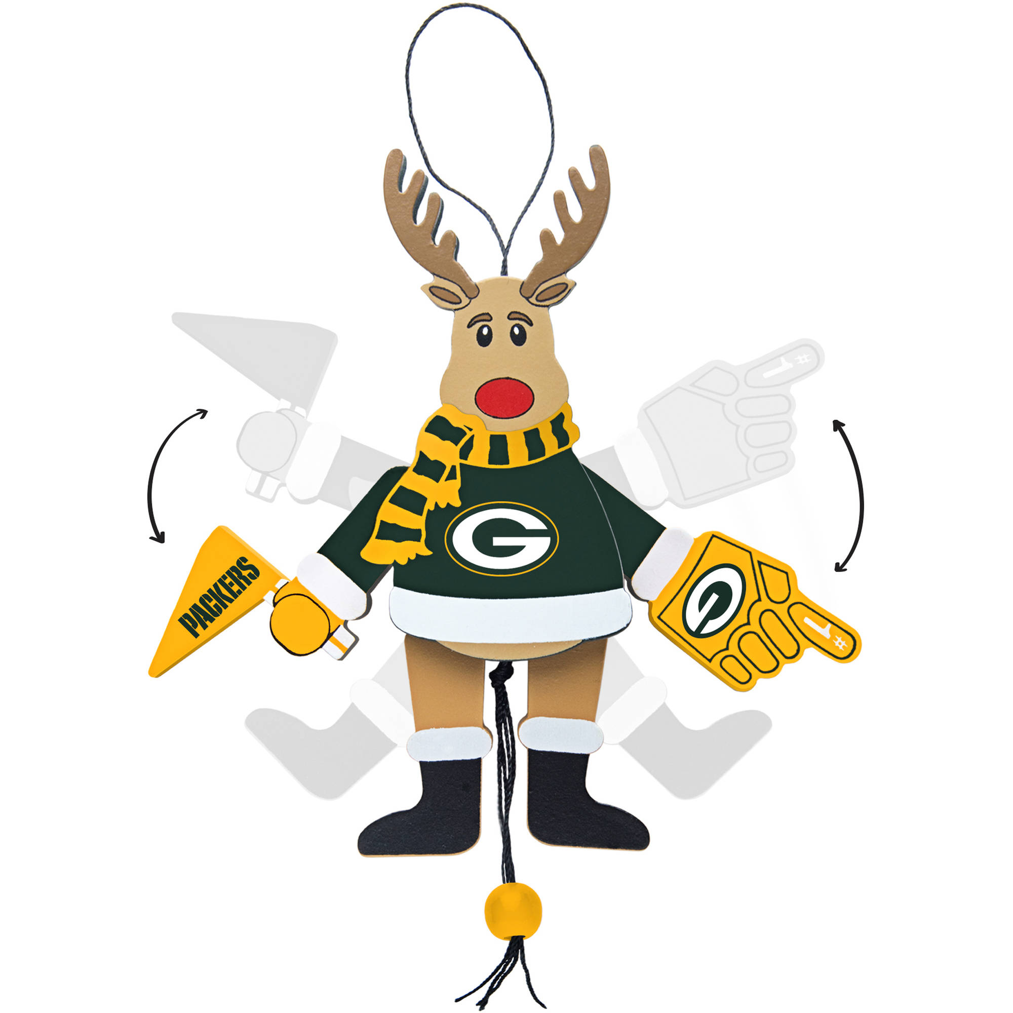 Topperscot by Boelter Brands NFL Wooden Cheering Reindeer Ornament, Green Bay Packers
