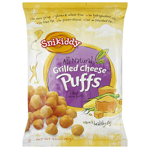 Snikiddy Grilled Cheese Baked Corn Puffs, 4 oz (Pack of 12)
