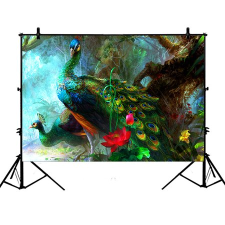 GCKG 7x5ft Charming Peacocks in the Jungle Polyester Photography Backdrop Studio Photo Props Background](Jungle Safari Backdrop)