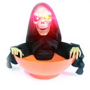 skeleton bowl orange halloween decoration