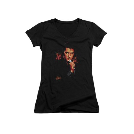 Elvis Presley The King Rock on the Microphone Junior V-Neck T-Shirt Tee (Elvis Presley Microphone)