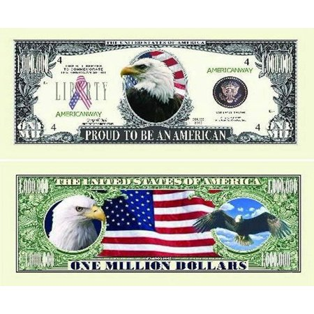 "Proud American Eagle Million Dollar Bill with Bonus ""Thanks a Million"" Gift Card Set and Clear Protector"