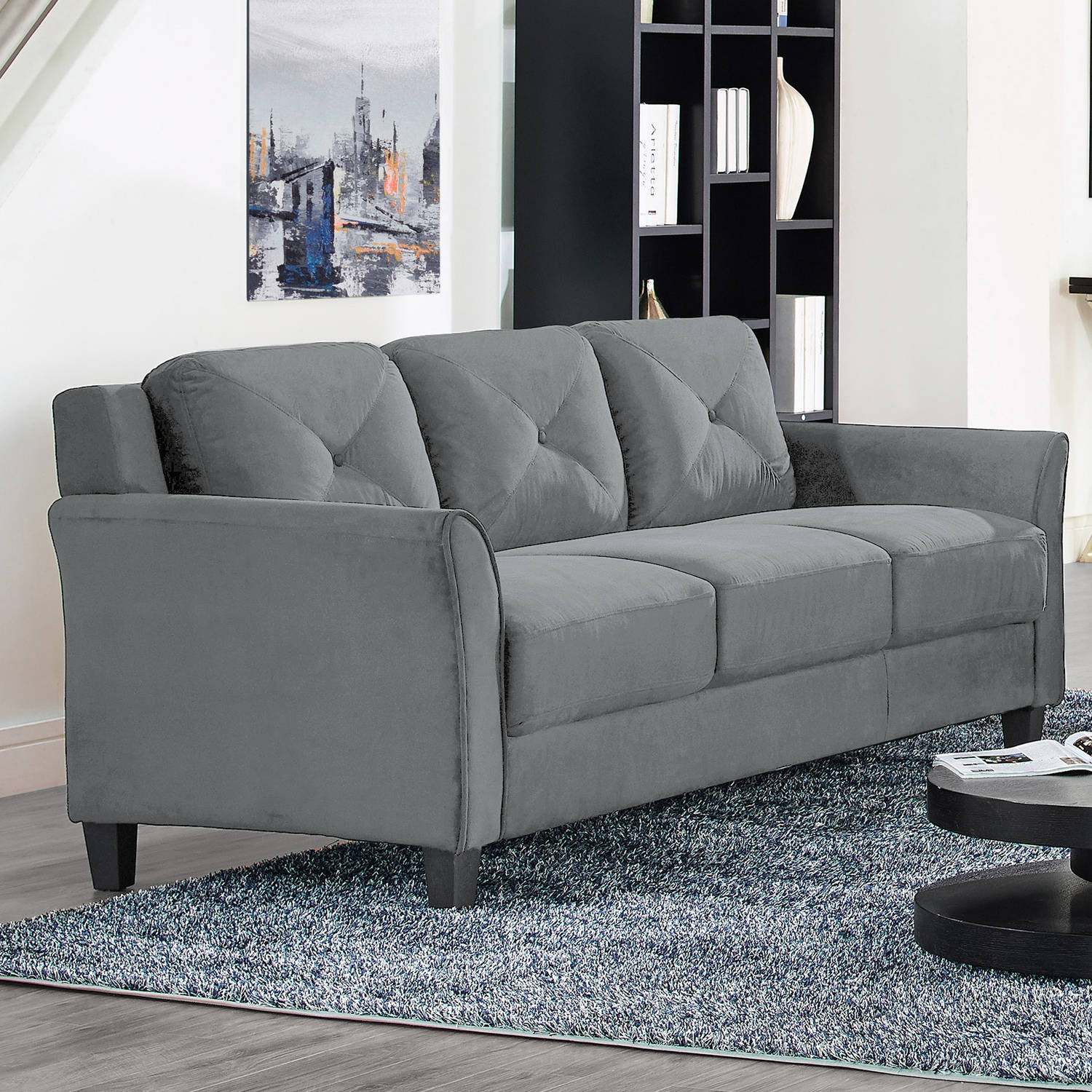 Details About Ireland Sofa Dark Grey Fabric Durable Upholstery Living Room Furniture Seating
