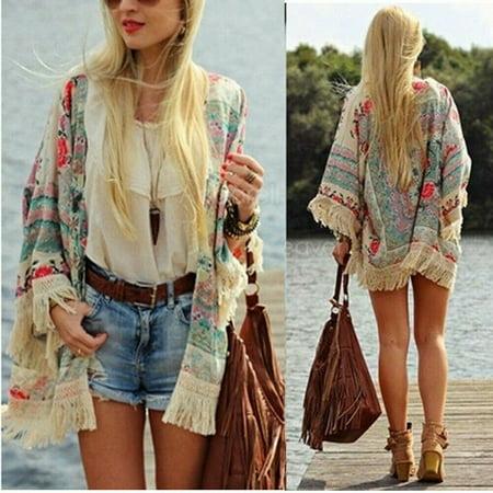 Vintage Women Floral Loose Shawl Kimono Cardigan Boho Chiffon Coat Jacket Blouse (Vintage Deck Jacket)