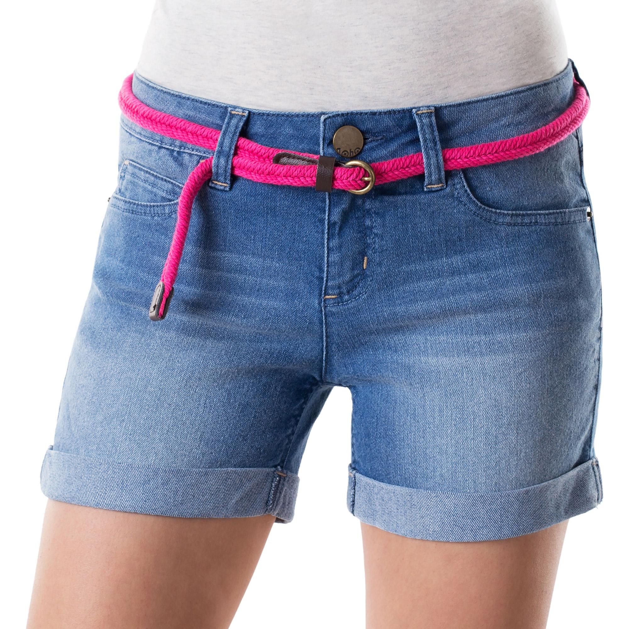 No Boundaries Juniors Double Roll Denim Shorts