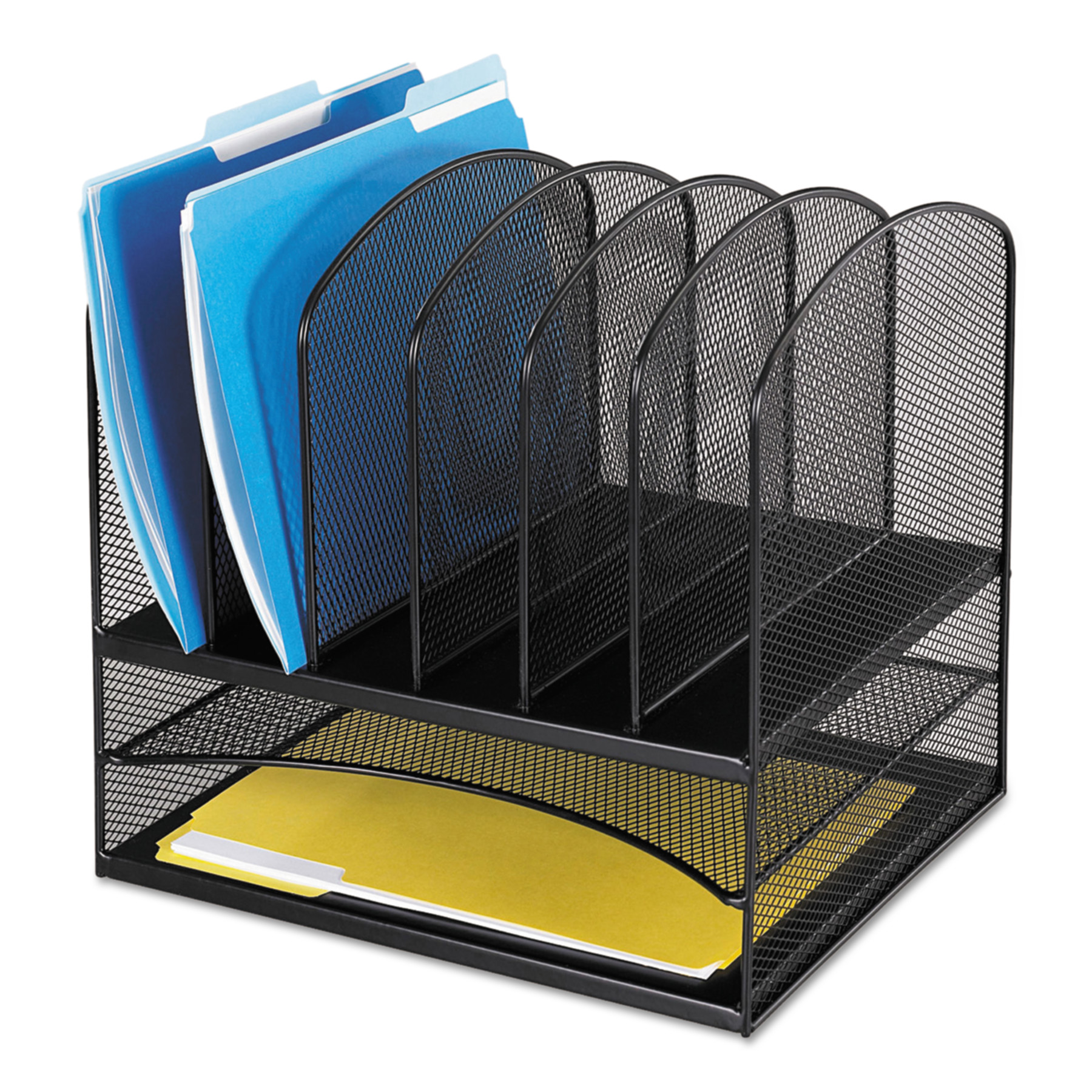 Safco Mesh Desk Organizer, Eight Sections, Steel, 13 1/2 x 11 3/8 x 13, Black -SAF3255BL