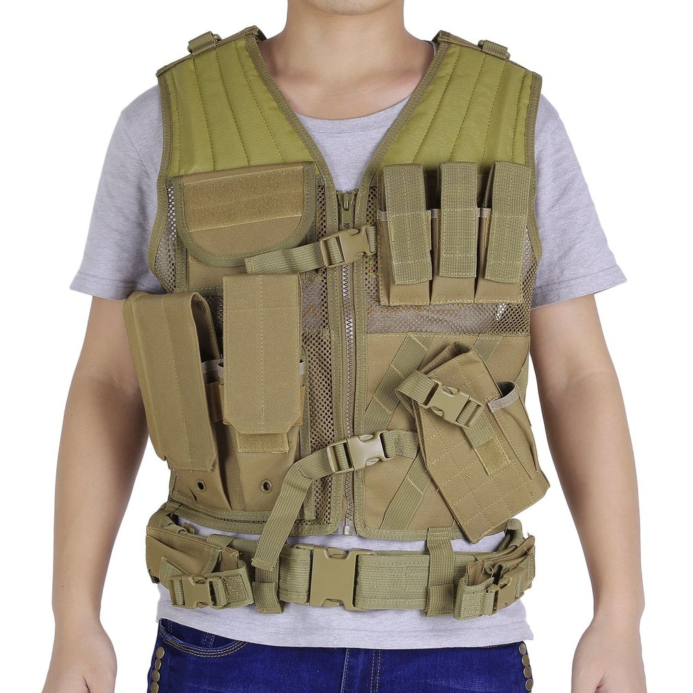 2017 New Adjustable Outdoor Men Military Gun Tactical Combat Assault Vest Army Hunting Airsoft Field Battle Training Vest Tan