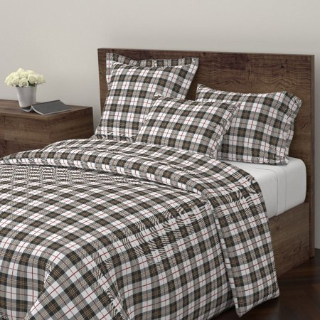 Scottish Tartan Modern Plaid Winter Home Decor Sateen Duvet Cover by Roostery ()