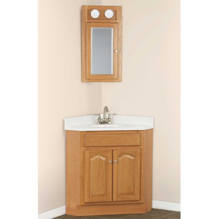 Three Piece Oak Corner Vanity Including Medicine Cabinet And Sink Top 24 X