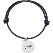 Lesa Michele Cubic Zirconia Sterling Silver Love Charm Brown Leather Bracelet in Sterling Silver