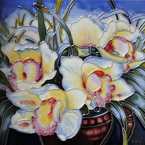 Continental Art Center Orchids in a Vase Tile Wall Decor