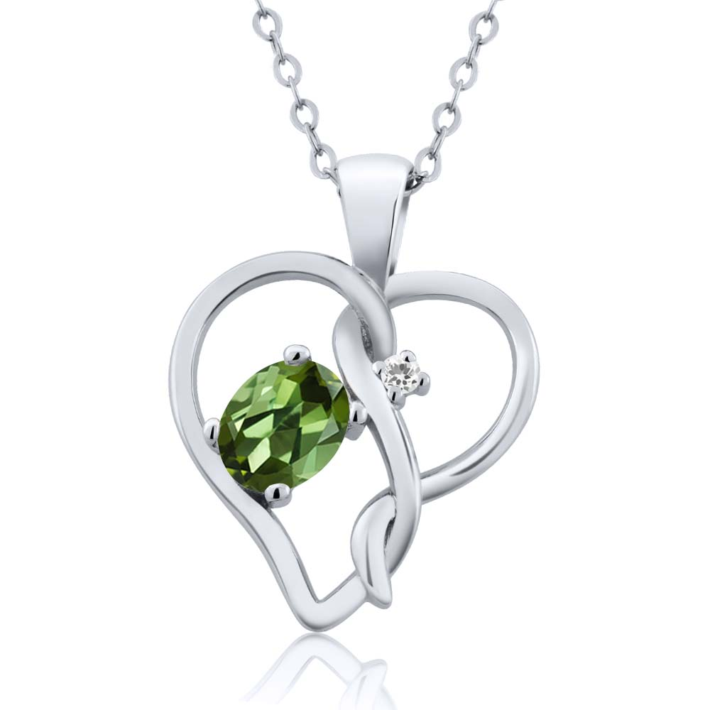 0.51 Ct Oval Green Tourmaline White Sapphire 18K White Gold Pendant by