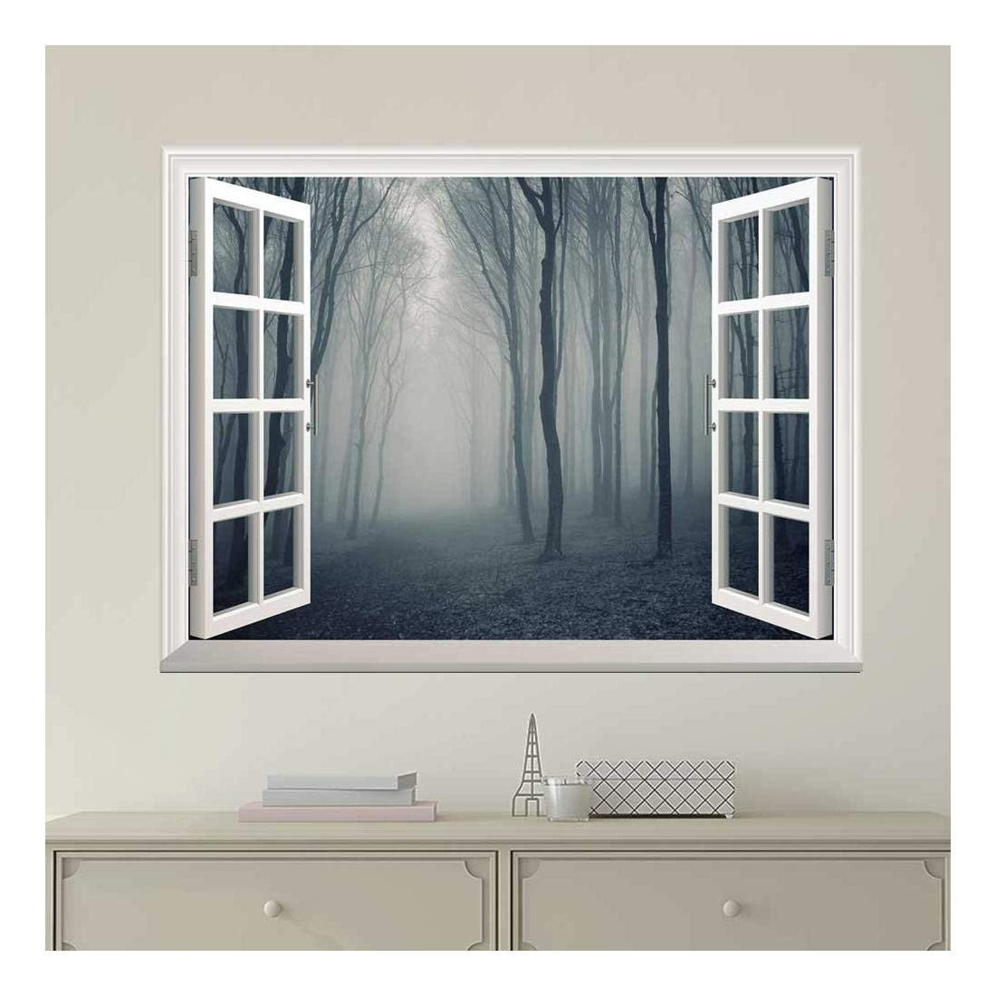 wall26 Modern White Window Looking Out Into a Dark Foggy Forest - Wall Mural, Removable Sticker, Home Decor - 24x32 inches