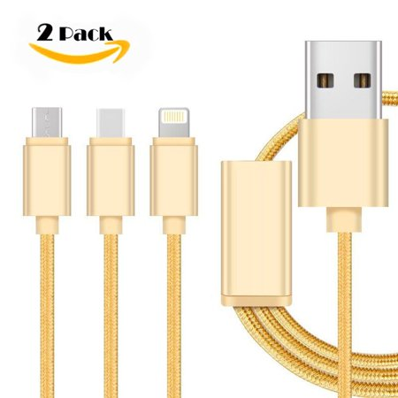 USB Charger Cord, Linwood 3ft Gold 3 Ports USB Type C Andiod Lightning Charging Cable with Aluminum Alloy Plugs available for Kindle Paperwhite iPhone iPad iPod nano Samsung Motorola, 4ft 2Pack ()
