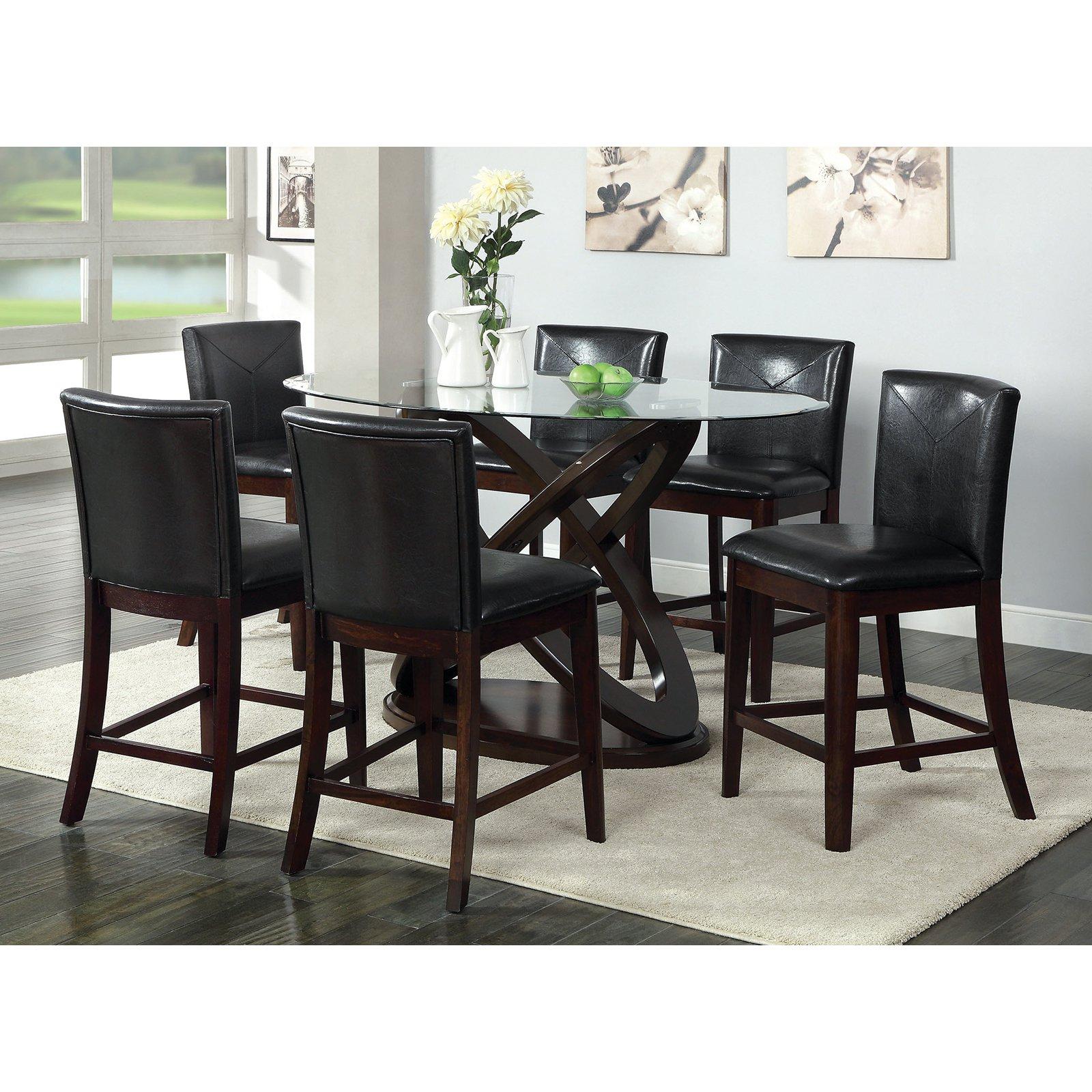 Furniture of America Ollivander 7-Piece Counter Height Glass Top ...