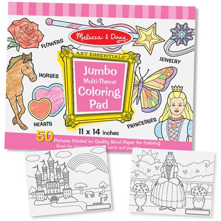 Melissa & Doug Jumbo 50-Page Kids' Coloring Pad - Horses, Hearts, Flowers, and More for $<!---->
