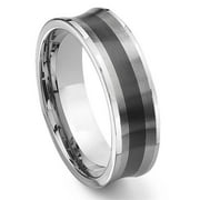 Titanium Kay Black Tungsten Carbide Concave Comfort Fit Mens Wedding Band Ring Sz 10.0