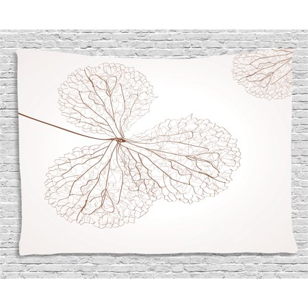Flower Decor Tapestry, Abstract Cotton Floral Design with Veins Natural Botanic Plants Image Art, Wall Hanging for Bedroom Living Room Dorm Decor, 80W X 60L Inches, White and Brown, by - Cotton Floral Wall Hanging