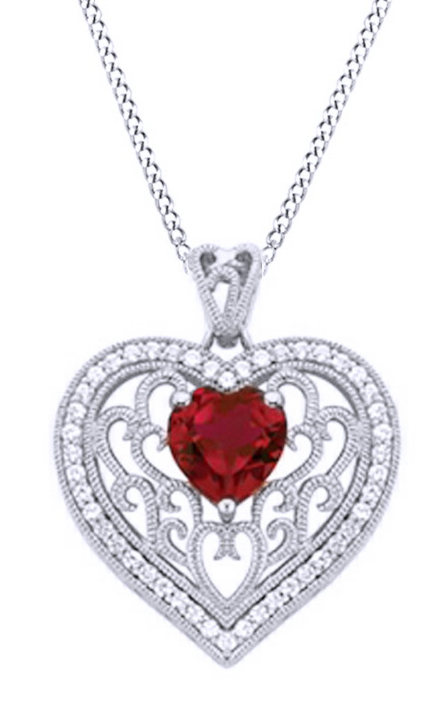 Simulated Ruby & White Sapphire Cubic Zirconia Heart Pendant Necklace In 14k White Gold Over Sterling Silver by Jewel Zone US
