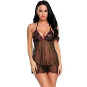 valentines day womens nightwear lingerie mini babydoll floral embroidery nightwear with g string roje