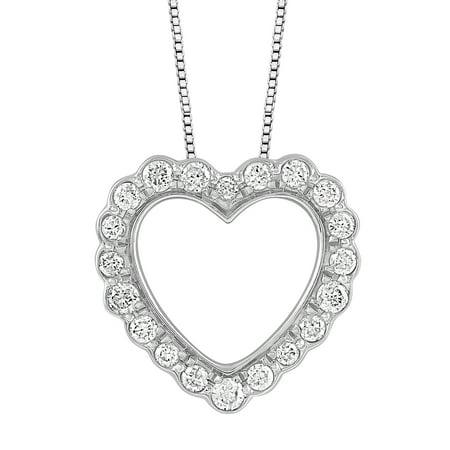 4755da645938 ONLINE - Sterling Silver 1 10 CTTW Diamond Scalloped Heart Pendant -  Walmart.com