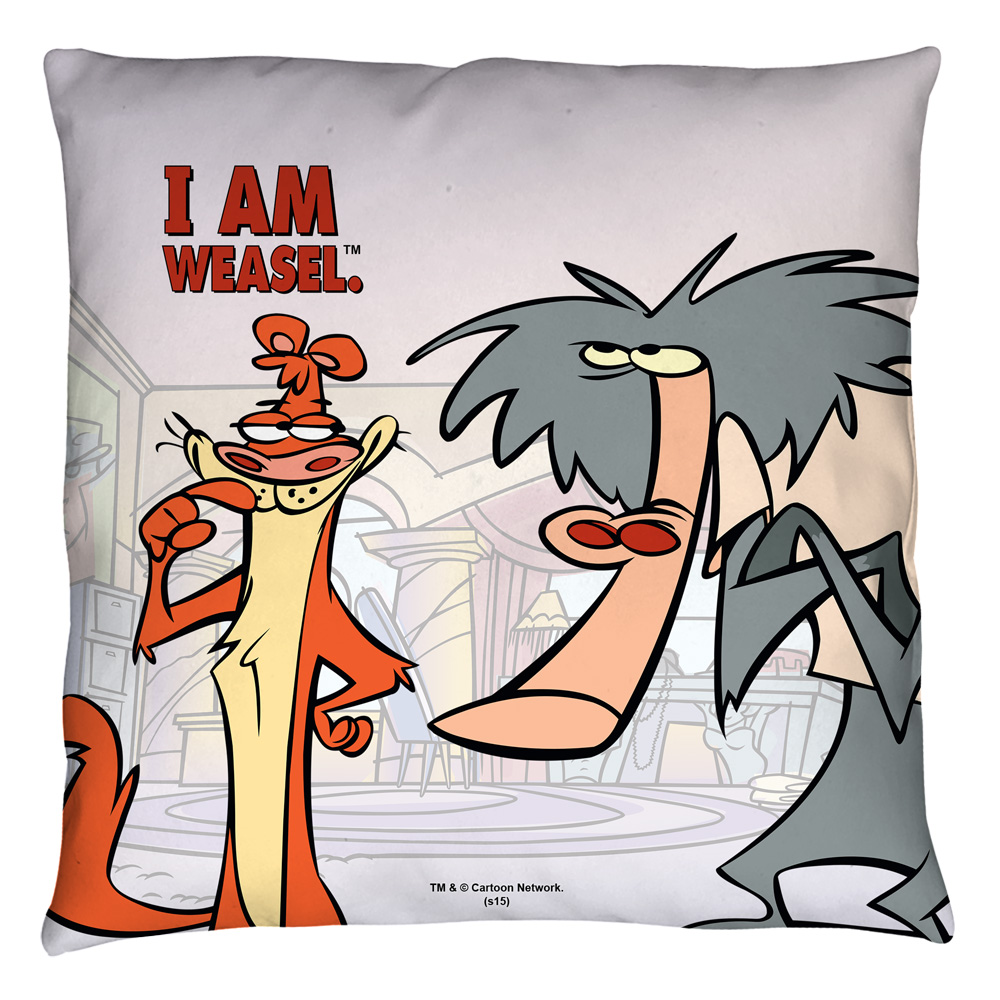 I Am Weasel Buddies Throw Pillow White 20X20
