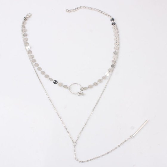 1263f0c470 Package Includes:1 x Necklace Sequins Chain Tassel Star Bar Pendant Double  Layer Women Choker Necklace Jewelry