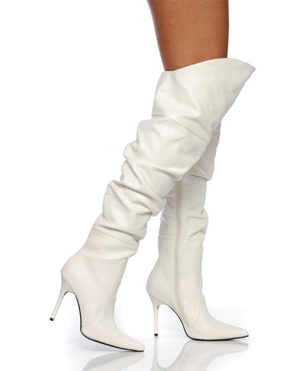 "Women's Shoes 4"" Thigh High Scrunch Boot Classic Pump Construction White Soft PU"