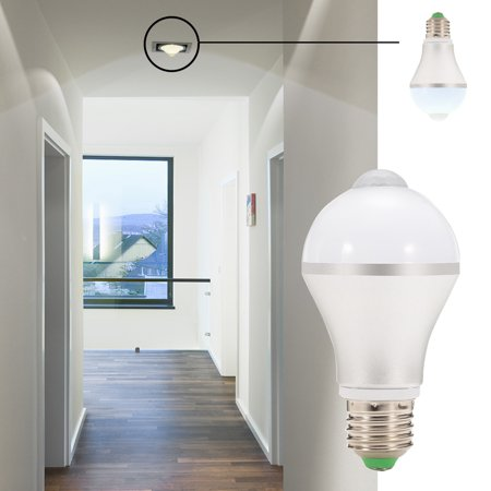 E26 7W LED Motion Sensor Light Bulb, Cold White Auto On/Off Night Light for Corridor Stairs Garage Hallway - image 5 de 6