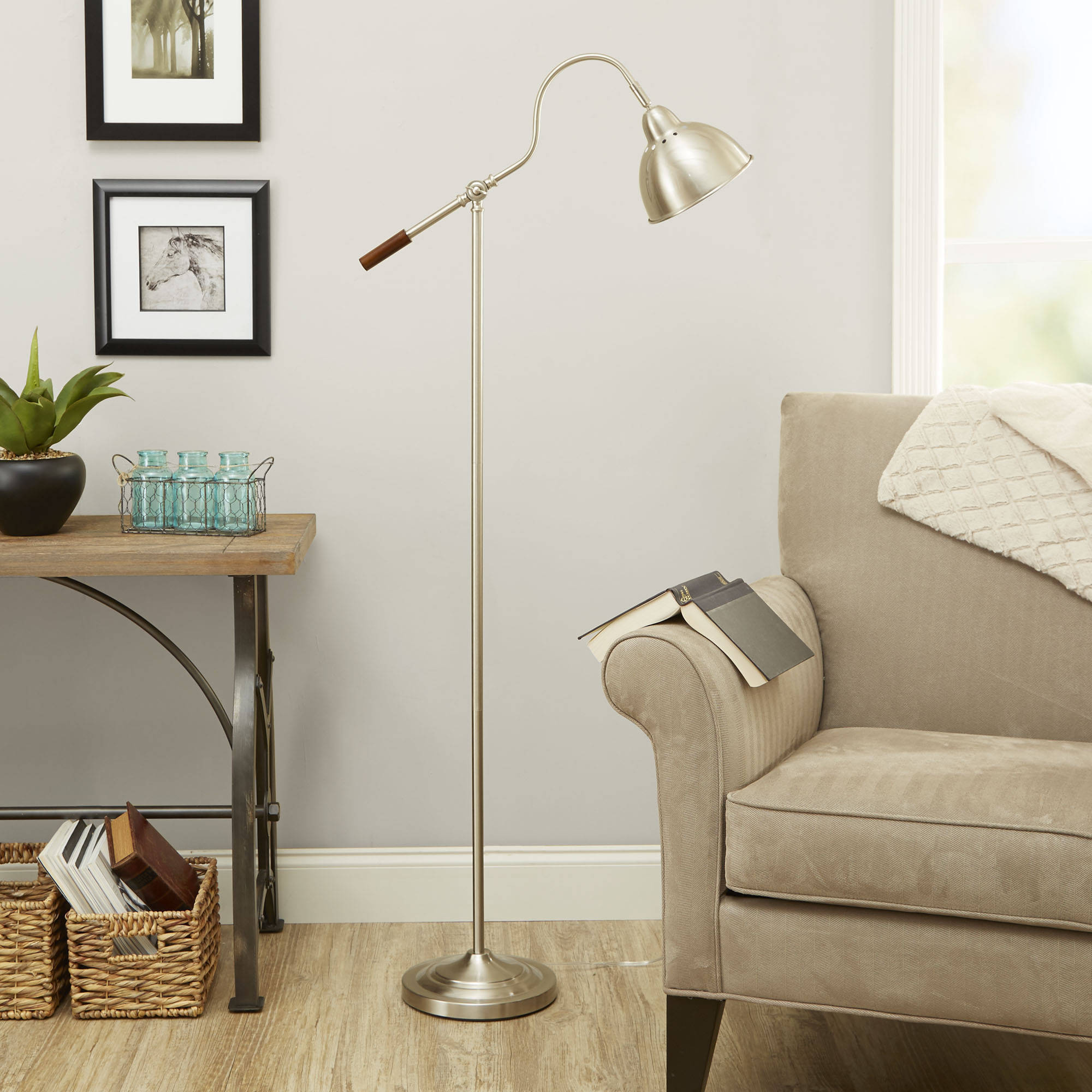 Better Homes & Gardens Adjustable Arm Metal Floor Lamp, Nickel by Cheyenne Products
