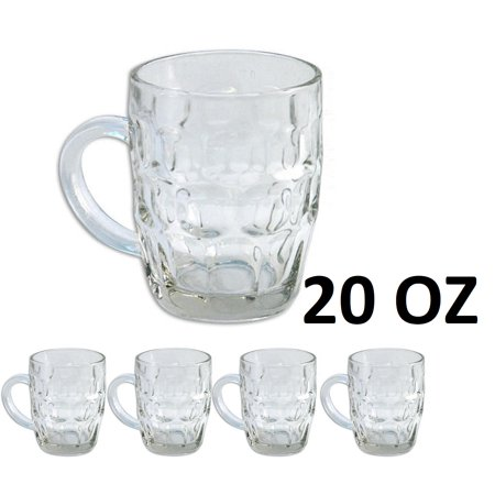 5 Pilsner Glass Cups 20 Oz Clear Coffee Mug Tea Soup Beer Set Hot Cold Beverage ()