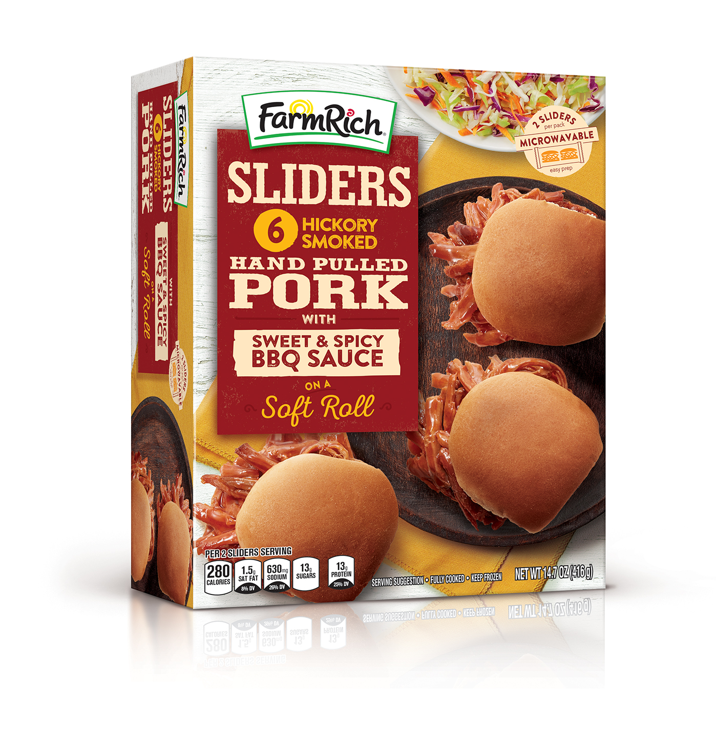 Farm Rich Hickory Smoked Pulled Pork Sliders, 14.7 oz, 6 Count