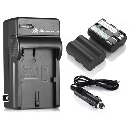 Powerextra 2-Pack 7.4v Replacement BP-511 BP-511A Battery and Charger For Canon EOS 5D 10D 20D 20Da 30D 40D 50D 300D D30 D60 Rebel PowerShot G1 G2 G3 G5 G6 Pro 1 Pro 90 Pro 90IS Digital Camera Canon Battery Pack Bp 511 Charger