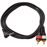 """Seismic Audio Right Angle 1/8"""" (3.5mm) to Male RCA Patch Cable for iPhone, iPod Android Laptop Black - SAiRTSY6"""