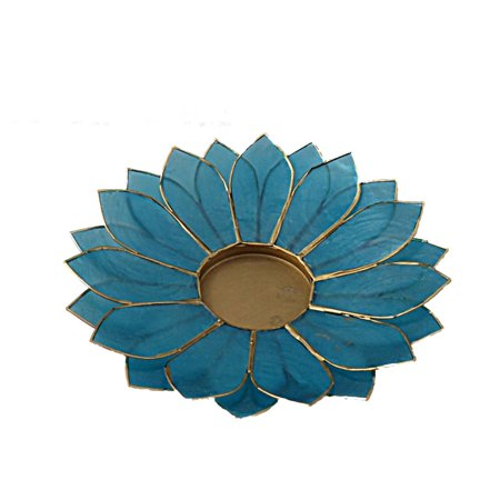 The Crabby Nook Lotus Candle Holder Capiz Shell Flat 2 Layer Decorating Accent Home Decor Gift Ideas, Aqua Marine Teal Blue