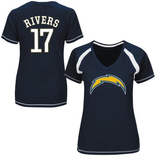 Philip Rivers Los Angeles Chargers Majestic Women's Determined To Win V-Neck Raglan T-Shirt - Navy Blue